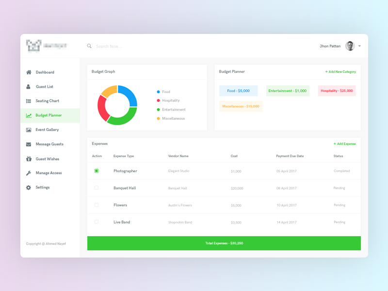 Dashboard : Event Manager by Ahmed Nayef 🌠